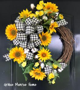 Sunflower and Cotton Wreath