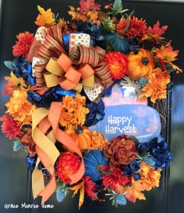DIY Fall Wreath with Blue Truck Sign from Dollar Tree