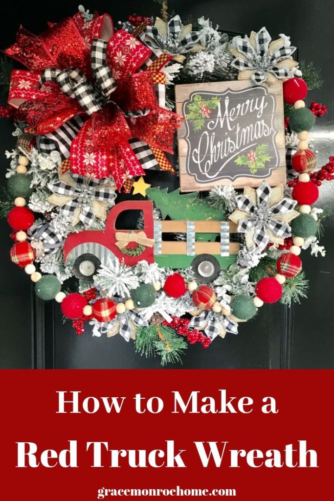 How to Make a Red Truck Christmas Wreath
