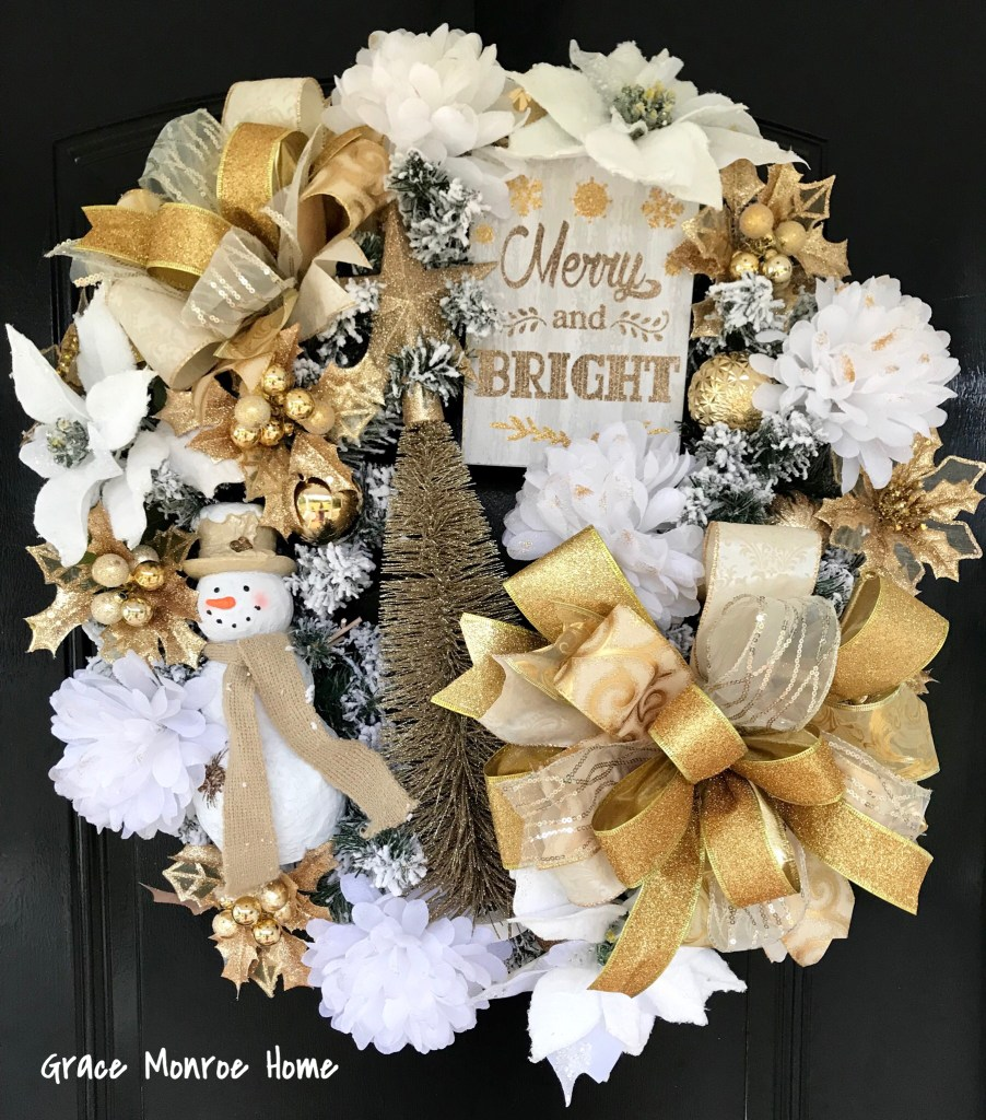 How to Make an Elegant Gold and White Christmas Wreath - Holiday Decor Ideas