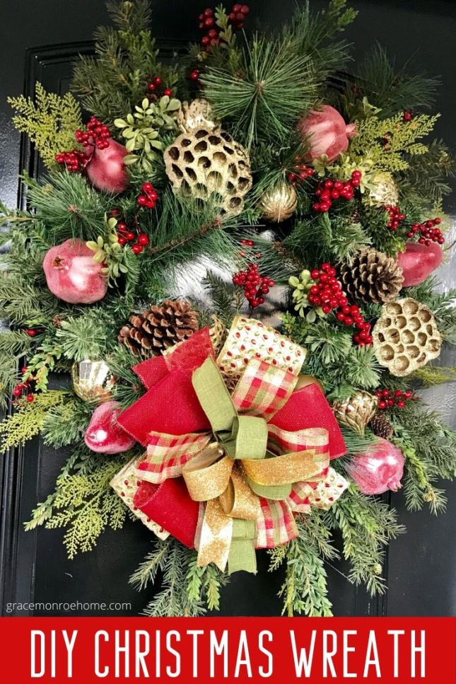 Learn How to Make a Beautiful DIY Christmas Wreath for Your Front Door! #christmas #wreaths #holidaydecor #diy #Christmascrafts