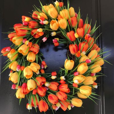 Spring Tulip Wreath for Front Door