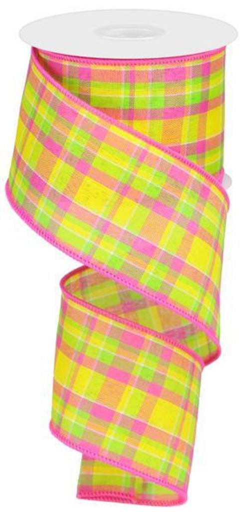Yellow, pink, and lime green plaid ribbon for spring and summer