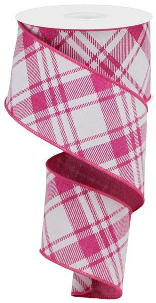 Pink and White Plaid Ribbon for Summer