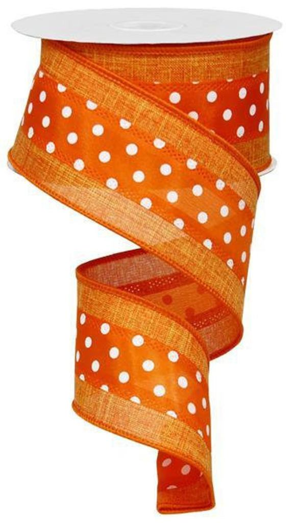 Bright Orange Ribbon with White Polka Dots