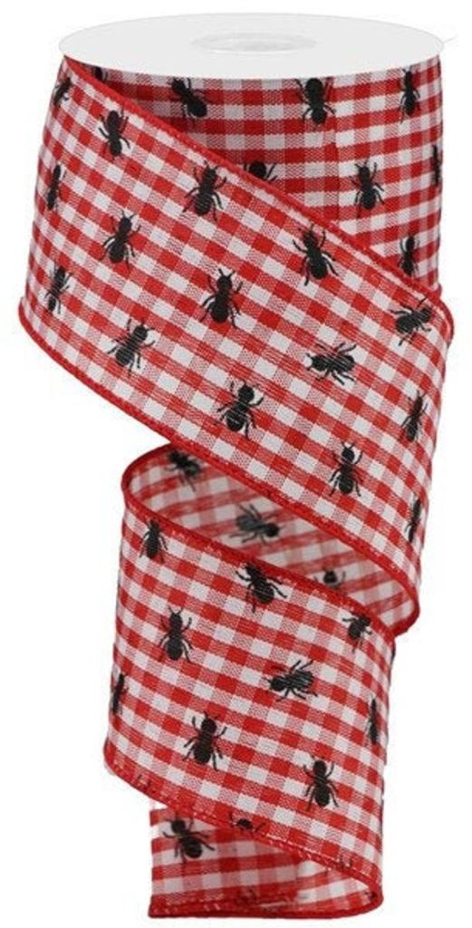 Red & White Gingham Ribbon with Ants