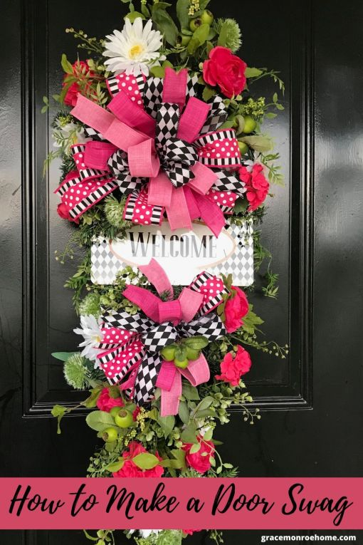 Learn to Make a Beautiful Swag for Your Front Door! #swag #wreaths #diy #crafts #doordecor #wreathmaking #wreathideas #wreathsandswags