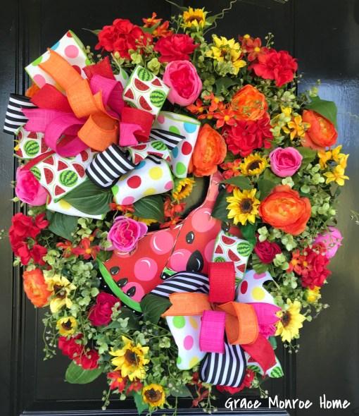 Summer Watermelon Wreath for Front Door