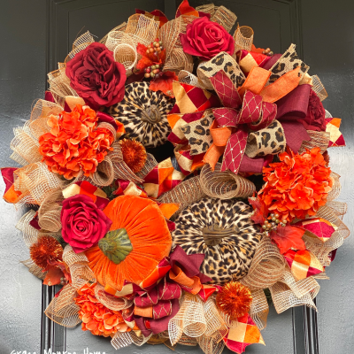 Fall Wreath with Leopard Print Pumpkins