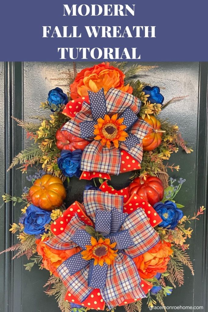 Modern Fall Wreath Tutorial Using Navy and Orange Flowers