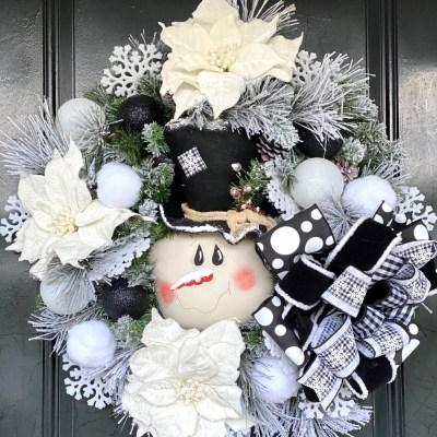 Black and White Snowman Wreath