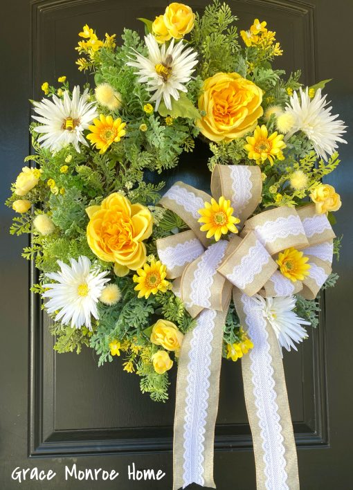 Beautiful Yellow and White Front Door Wreath