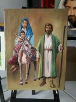 Lukisan kluarga Kudus mini asli kanvas