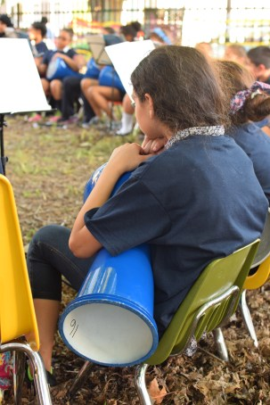 A young girl waits to perform at a concert in the garden of Moffet Elementary School in Kensington during May.   THE SPIRIT NEWS