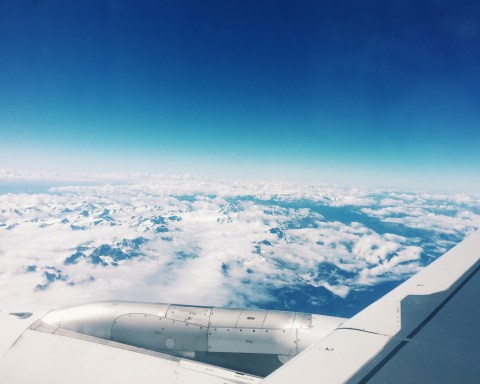 The Alps blending into the clouds.
