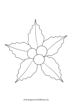 Christmas coloring page for kids holly