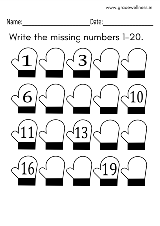 free missing number worksheet winter