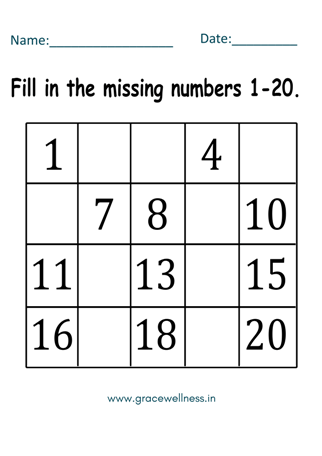 free fill in the missing number worksheet 1-20