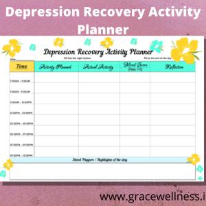 depression self help activity planner