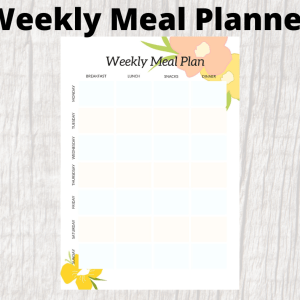 floral weekly meal planner with snacks