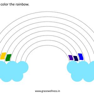 color the rainbow printable preschool worksheet