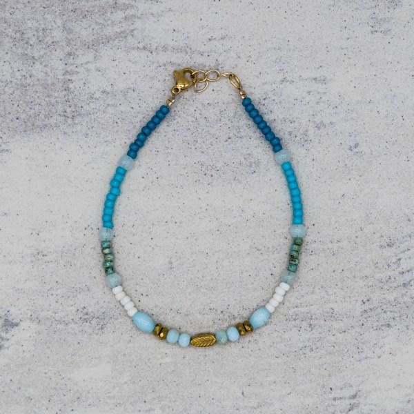 Armband - Golden Leaf Blue - GraciArt
