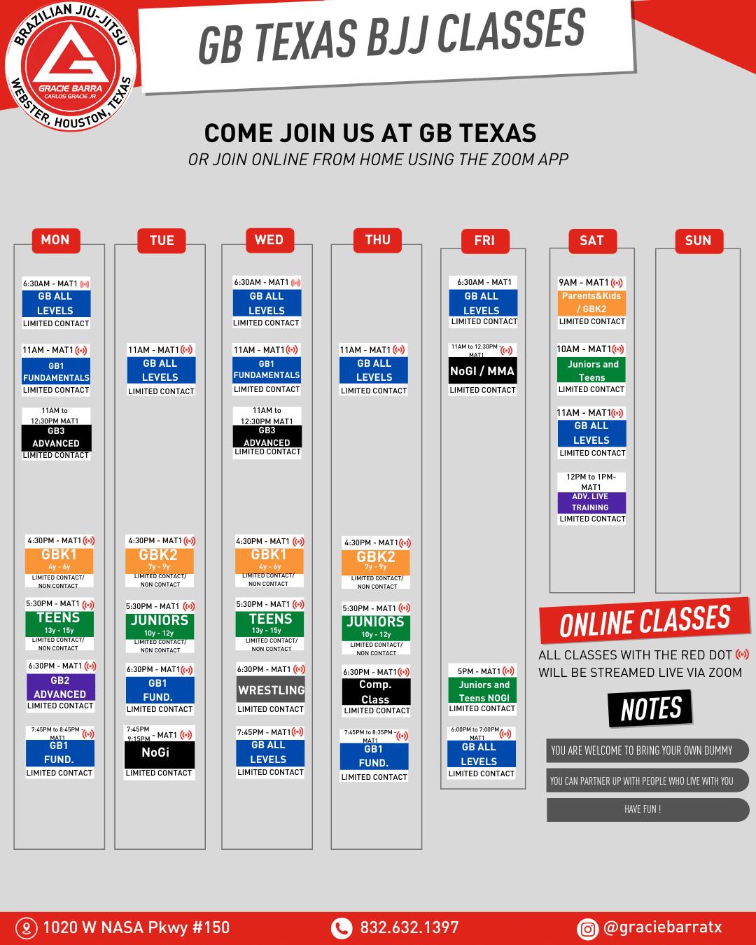 Gracie Barra Texas Current JJ Schedule