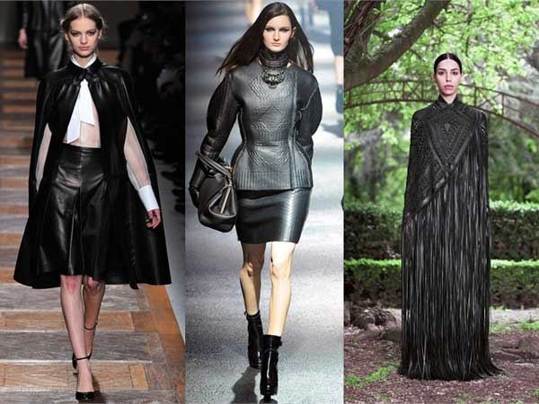 Valentino, Lanvin and Givenchy, leather dresses