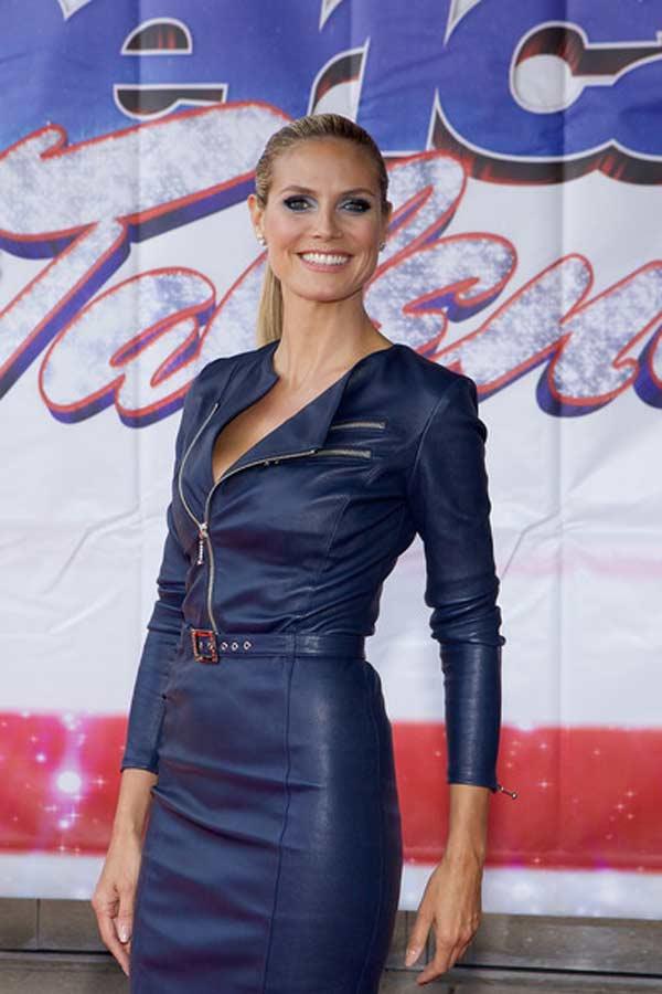 Heidi Klum - wearing a Blue Leather Dress