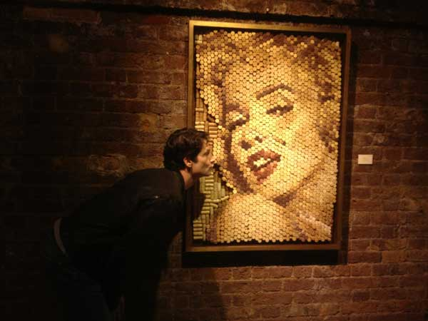 Conrad Engelhardt,wine cork art london, marylin monroe