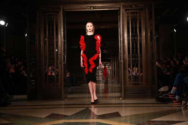 velvet red and black dress 2013