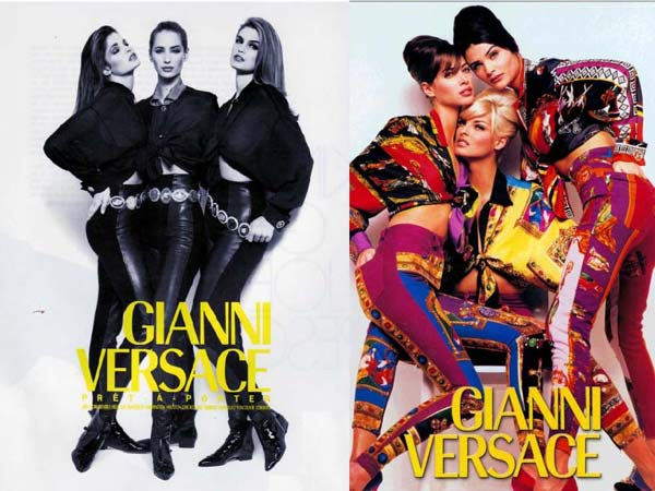 stephanie seymour, christy turlington, cindy crawford linda evangelista and helena christensen fw 1991 gianni versace ad campaign-shot-by-herb-ritts