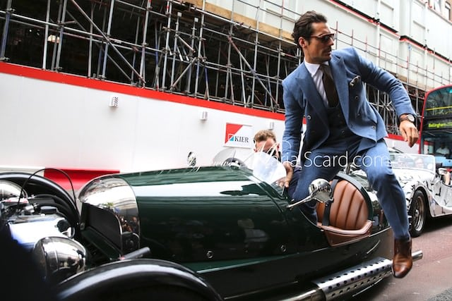David Gandy - London collections Men June 2013 Reiss blue Suit (5)