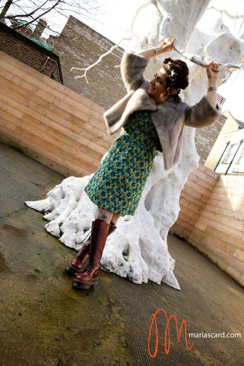 Gracie Opulanza - Wearing Bimba & Lola Dress, Dr Martins Red Boots, Vintage Mink Jakcet and Styled by Zoe Della Rocca (2)