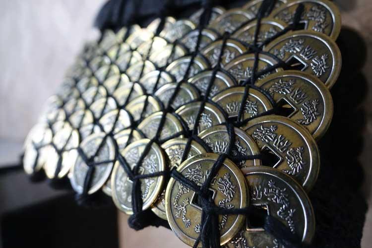 Bali coin metal bespoke fabric purse bag gracie opulanza (9)