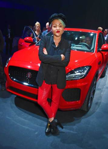 Jaime-Winstone-strikes-a-pose-in-front-of-the-all-new-Jaguar-E-PACE