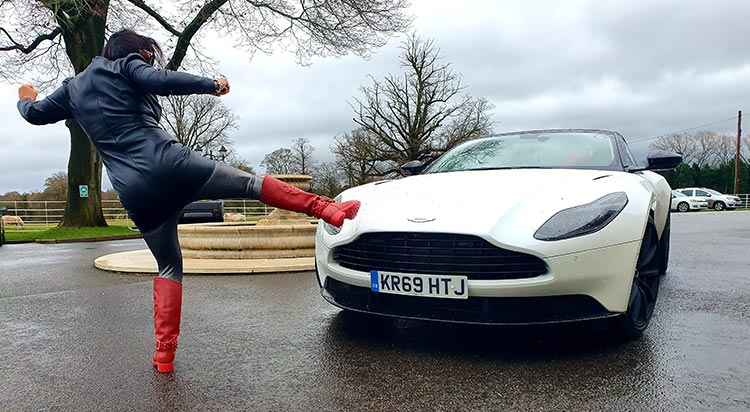 Gracie Opulanza Aston Martin DB11 2020 fashion and lifestyle review James Bond image for a woman (1)