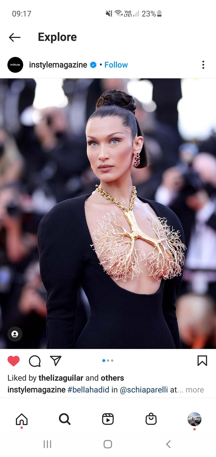 Bella Hadid schiaparelli coral necklace cannes