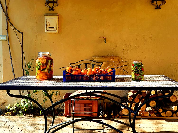 fruit jars Tuscany Persimmons