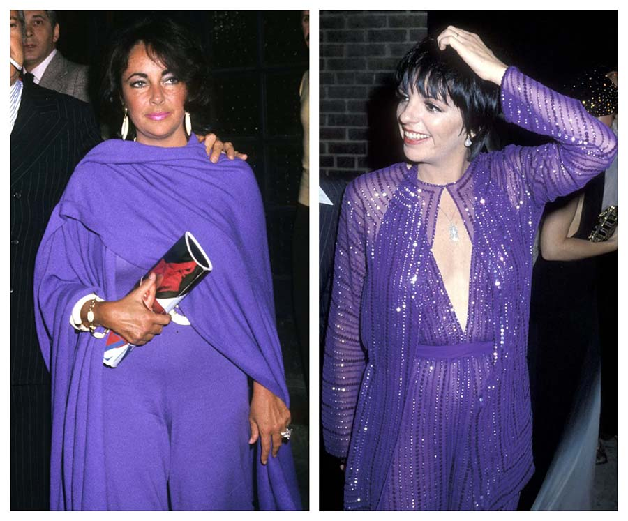 Elizabeth Taylor (in 1976, left) and Liza Minelli (in 1979, right) were among Halston's most loyal customers