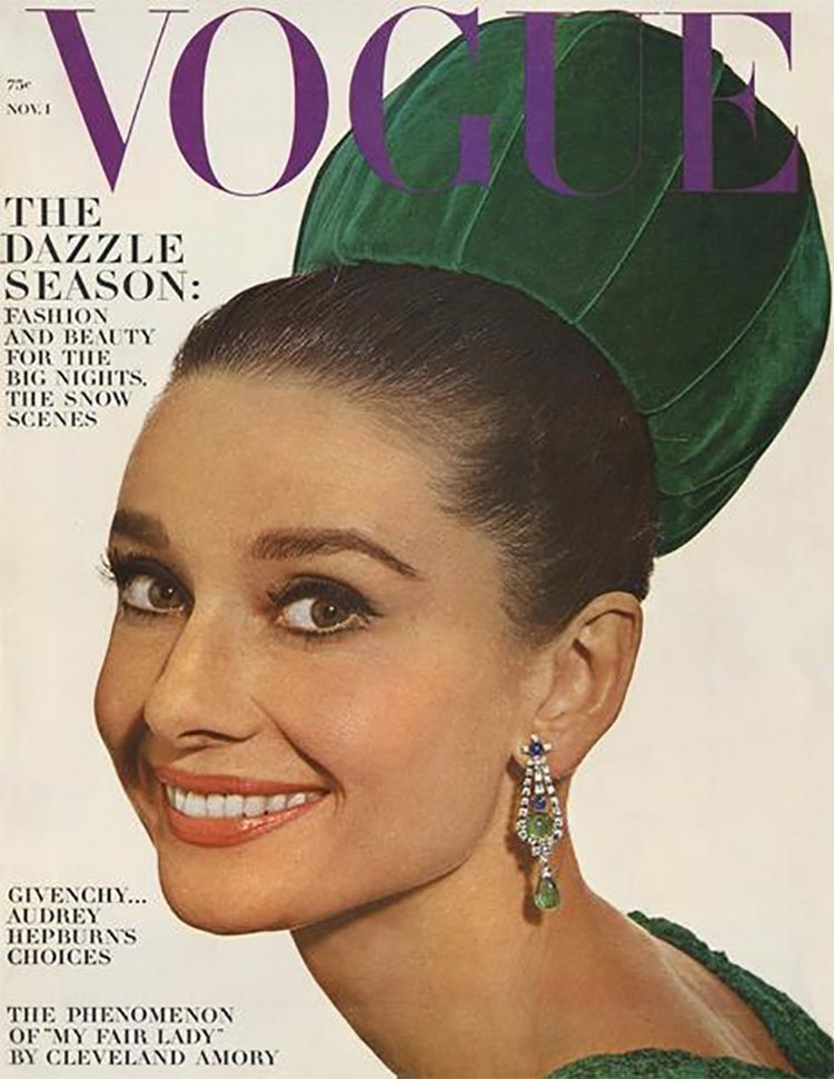 Vogue, November 1964 cover with Audrey Hepburn. All photos from the VogueArchive