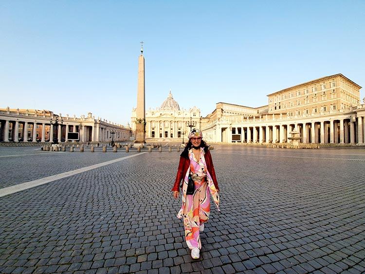 Gracie Opulanza Pucci print vintage onesie Rome italy Vatican City 2021 (1)