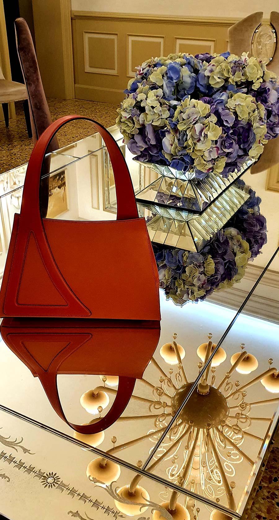 Michele Da Fina Venice luxury leather one handle bag orange (3)