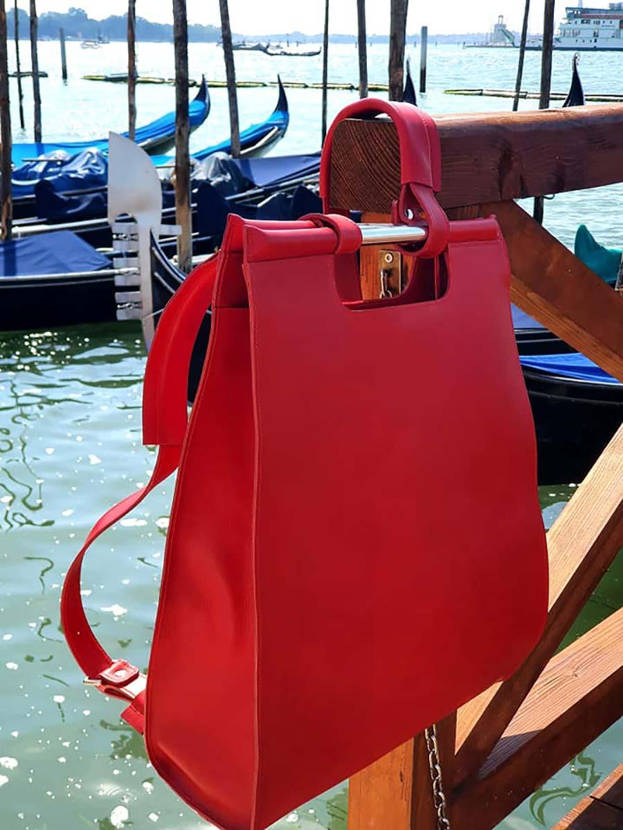 Ferrari Red Gracie Opulanza Tuscany Leather Backpack
