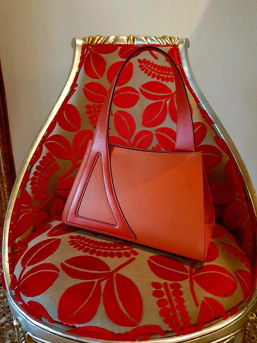 Michele De Fine Aragosta orange leather bag Gracie Opulanza made initaly (5)