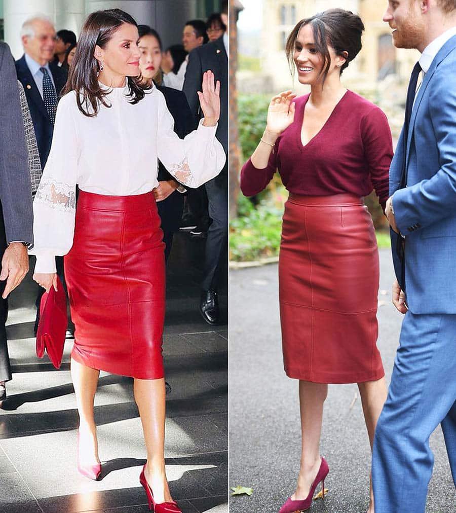 pencil skirt WWIB-Queen-Letizia-Meghan-Markle-Same-Red-Skirt-Promo