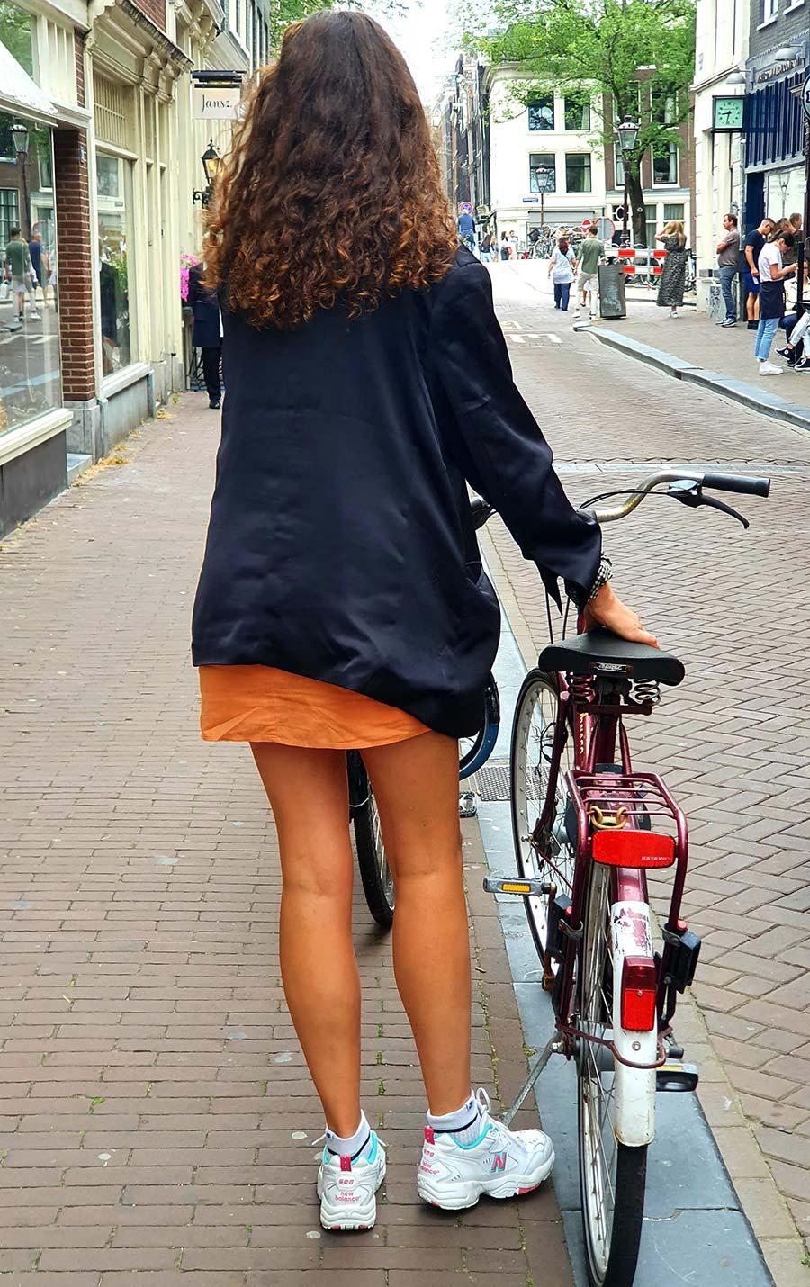 Amsterdam woman on bike