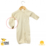 Button Down Long Sleeve Baby Gown with fold over Mittens
