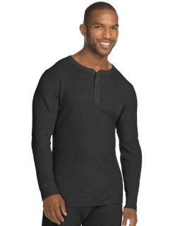 a4bb24ad3 Hanes X-Temp; Men's Organic Black Cotton Thermal Henley