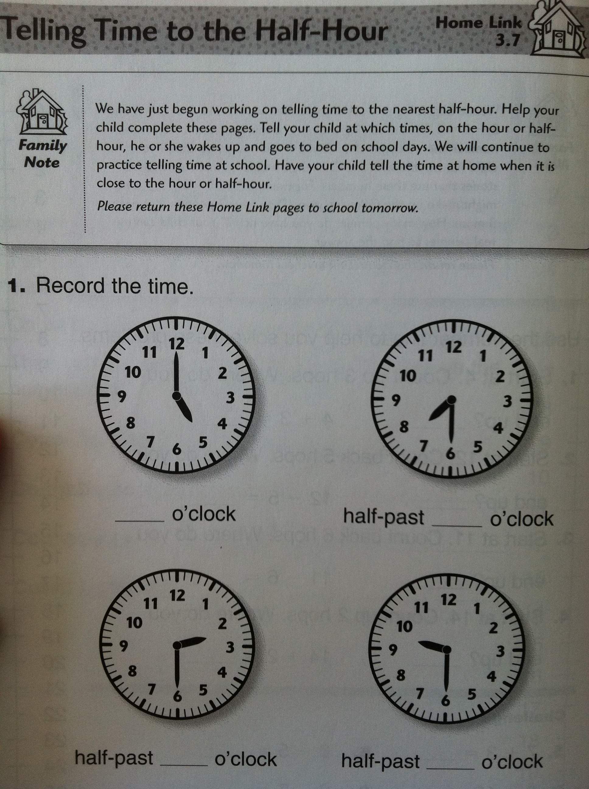 Time To The Half Hour Worksheet Grade 1